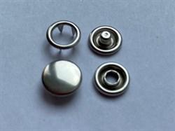 Кнопка НИКЕЛЬ металлическая 9,5мм с КРЫШКОЙ - фото 6424
