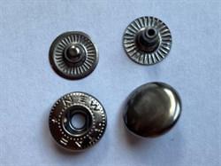 Кнопка АЛЬФА ТЕМНЫЙ НИКЕЛЬ металлическая 12,5мм с КРЫШКОЙ - фото 6445
