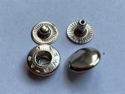 Кнопка АЛЬФА НИКЕЛЬ металлическая 15мм с КРЫШКОЙ - фото 6451