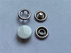 Кнопка БЕЛЫЙ металлическая 9,5мм с КРЫШКОЙ